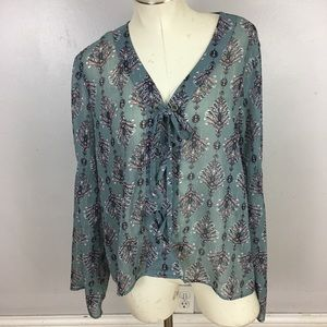 Maurices Sheer Lace Up Blouse Large